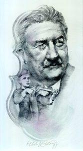 Oldřich Kulhánek litografie Josef Suk 21_11cm lito 1989