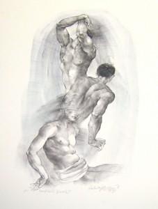 Oldřich Kulhánek litografie Vertikály života II