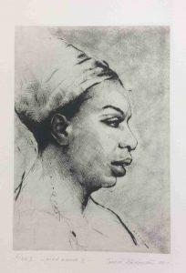 Tomáš Hřivnář prodej grafiky Nina Simone II 29_24cm