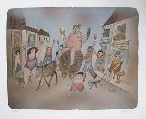 Adolf Born prodej litografie Triumfální příjezd Bacca