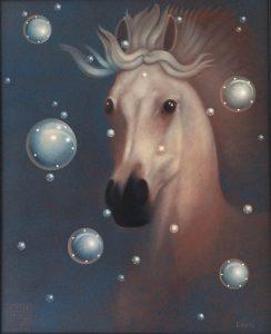 Lukáš Kándl prodej obrazu Kůň na hvězdném nebi 81_65cm