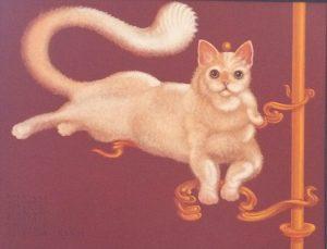Lukáš Kándl prodej obrazu Vesmírně klidná kočka 50_65cm