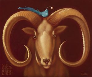 Lukáš Kándl prodej obrazu Le mouflon et l'oiseau bleu_30cm