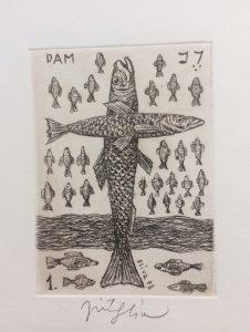 Jiří Slíva prodej obrazu Biblio 1 Ryby 11_8cm