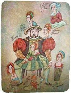 Adolf Born prodej barevné litografie Šest žen Jindřicha VIII 2001