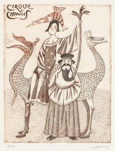 Adolf Born prodej barevné litografie Cinsti-iluzioniste 32_25cm