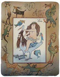 Adolf Born prodej barevné litografie Léda s labutí a jinými zvířaty 2007 45_35cm