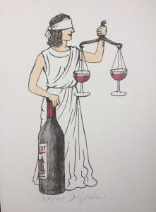 Jiří Slíva prodej litografie Spravedlnost s vínem 30-20cm