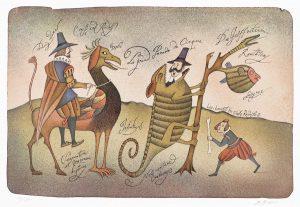 Adolf Born Lovci kuriozit pro císaře Rudolfa II, barevná litografie