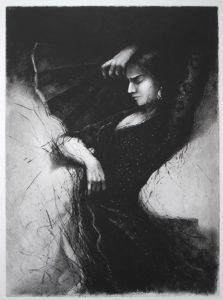 Tomáš Hřivnáč prodej obrazu suchá jehla Flamenco V černá