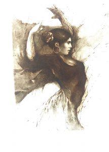 Tomáš Hřivnáč prodej obrazu Flamenco-VIII-hnědá-66-49cm