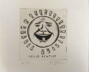 JIří Slíva Hello dentist barevný lept